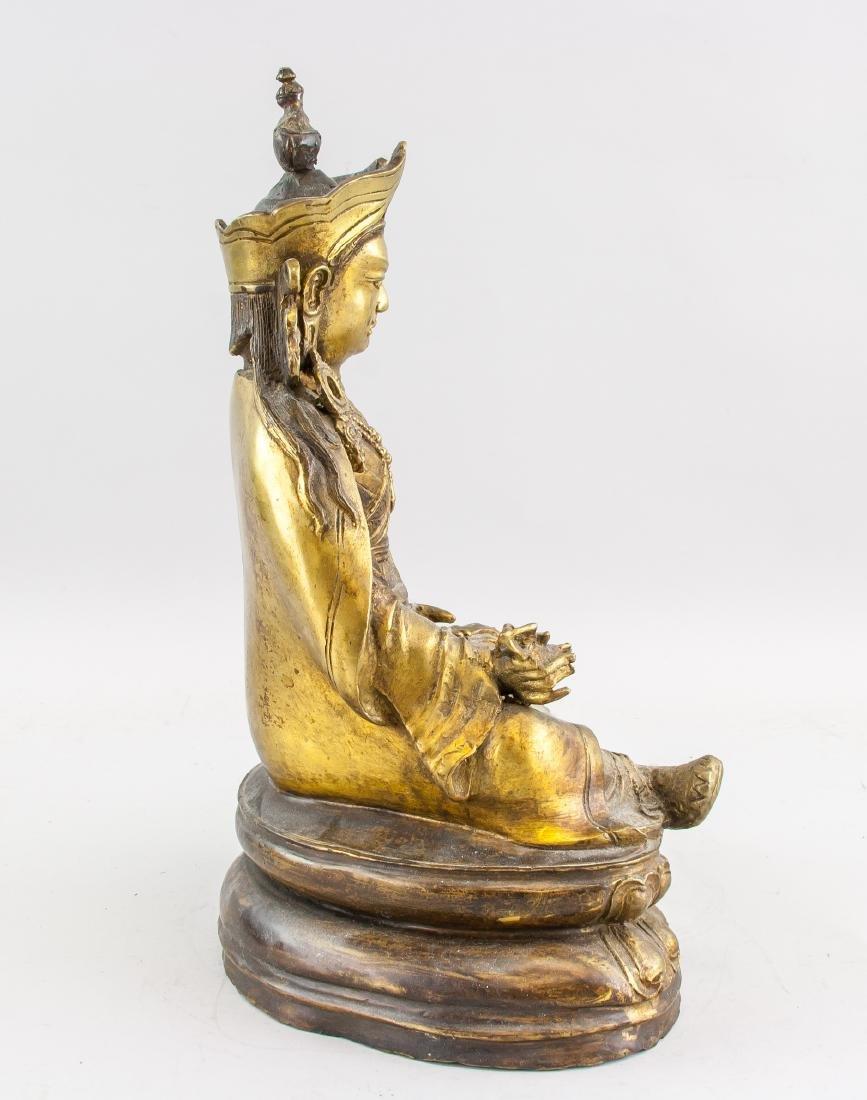 Tibetan Gilt Bronze Padmasambhava Staute - 3
