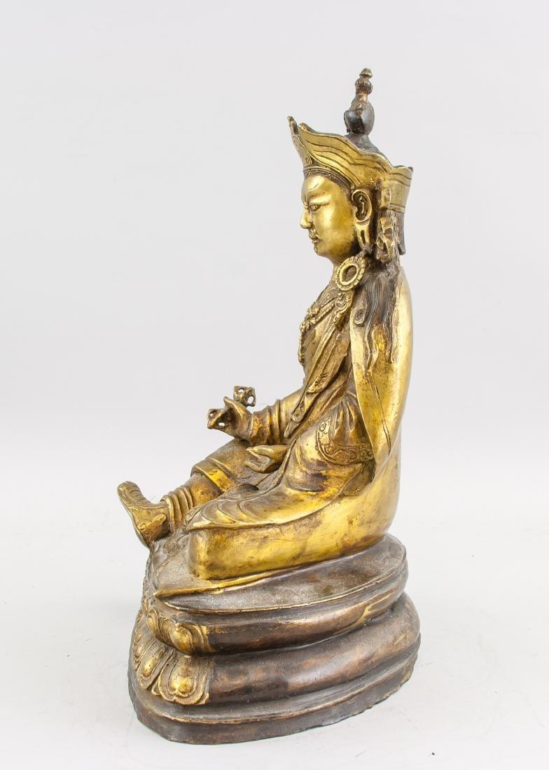 Tibetan Gilt Bronze Padmasambhava Staute - 5