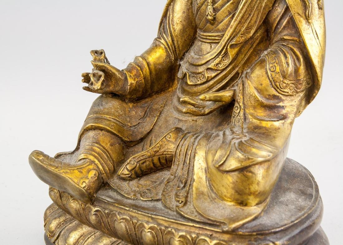 Tibetan Gilt Bronze Padmasambhava Staute - 7
