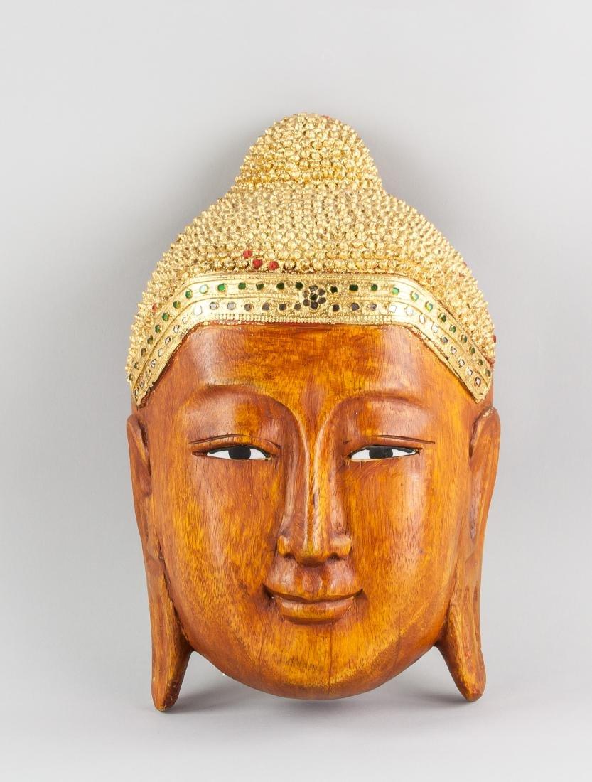 Southeast Asian Wood Carved Shakyamuni Buddha Head