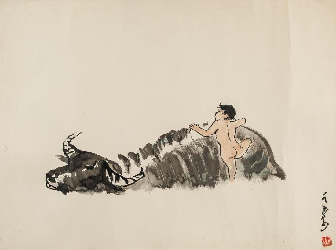 Li Keran 1907-1989 Chinese Watercolor Buffalo Boy