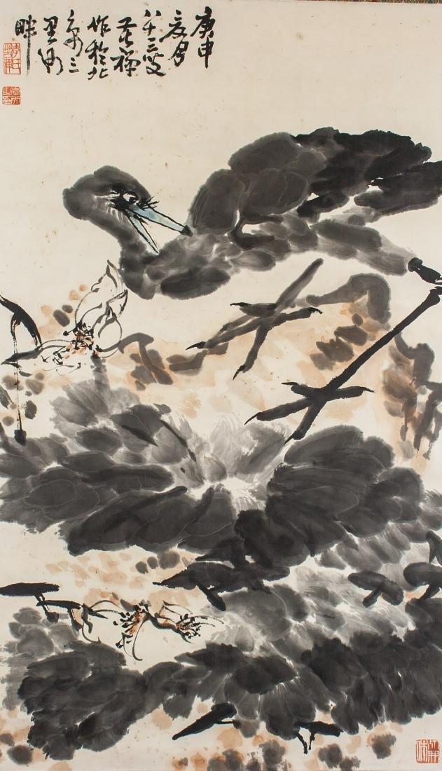 Li Kuchan 1899-1983 Chinese Watercolor Egret