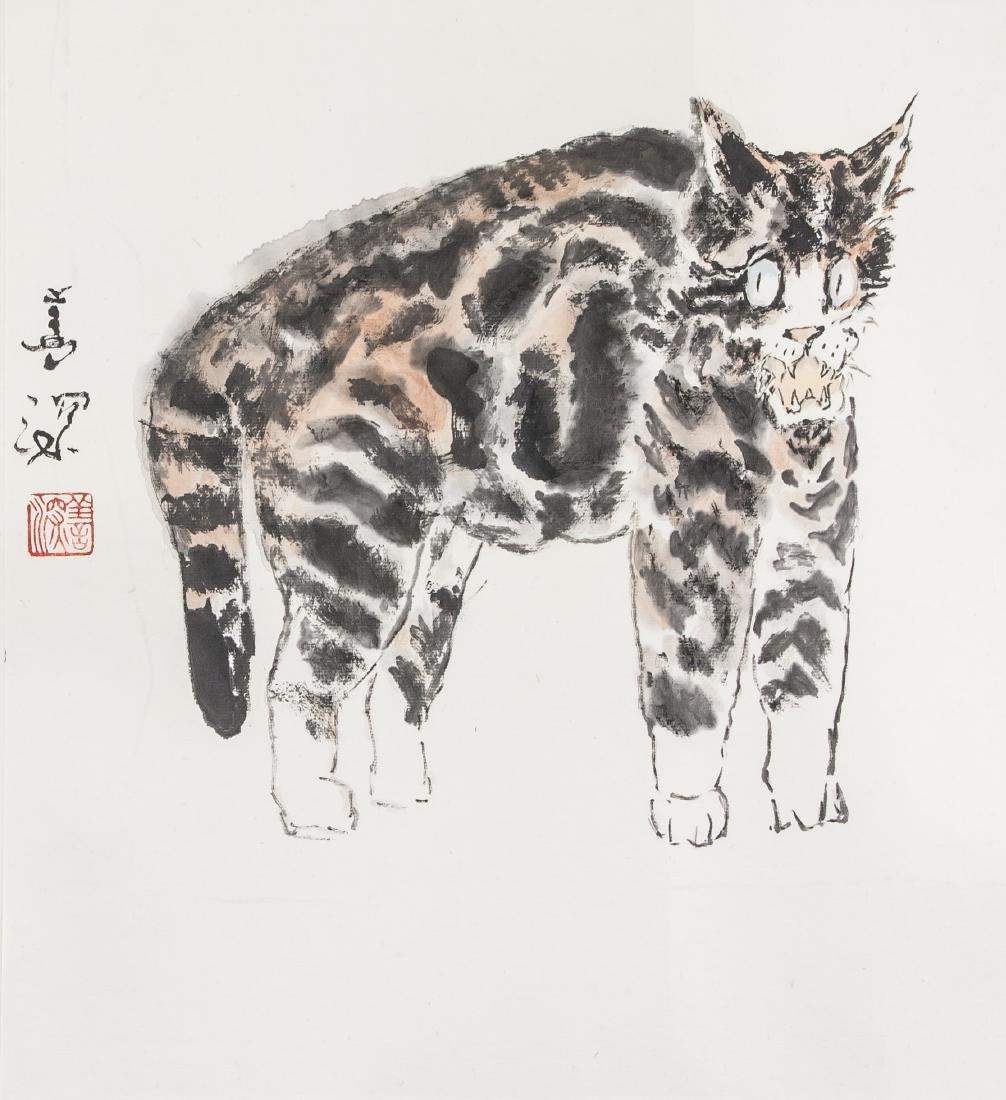 Yang Shanshen 1913-2004 Chinese Watercolour Cat