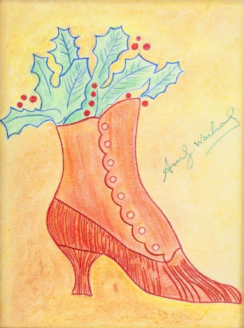 Andy Warhol 1928-1987 American Crayon High Heel