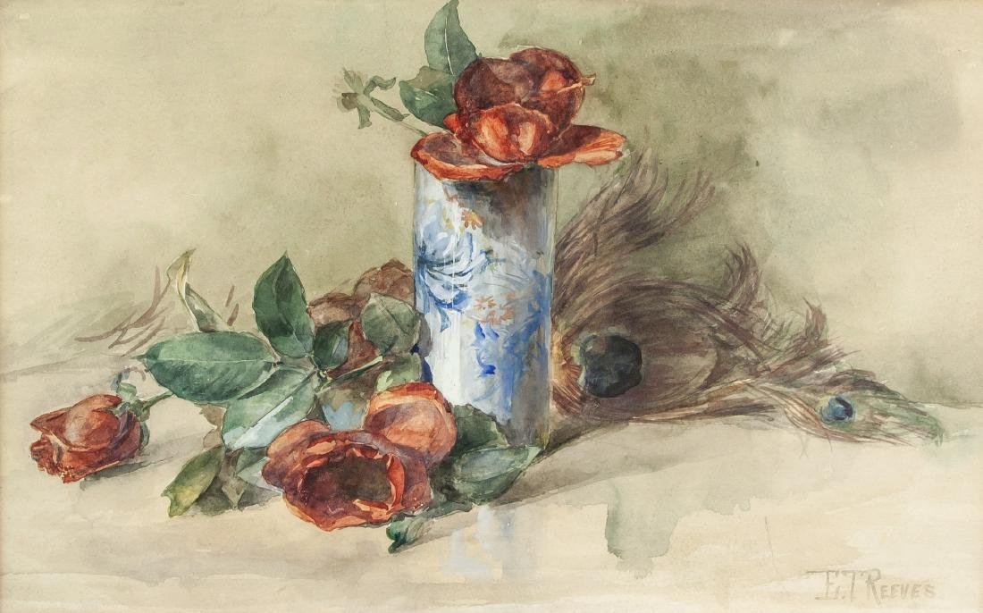 Edward T. Reeves Gouache Still Life of Flower