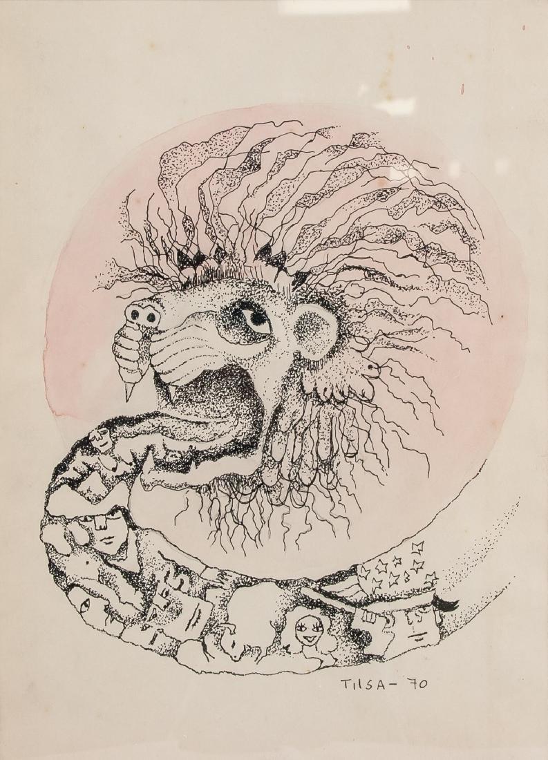 Tilsa Tsuchiya 1928-1984 Peru Ink Surreal Lion
