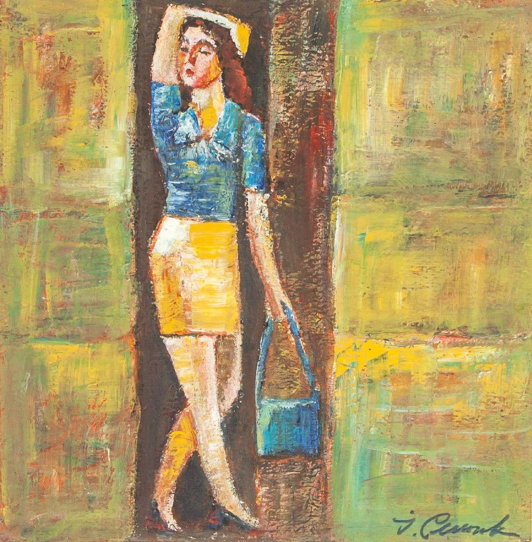 Igor Smychek Oil on Paper Abstract Standing Lady