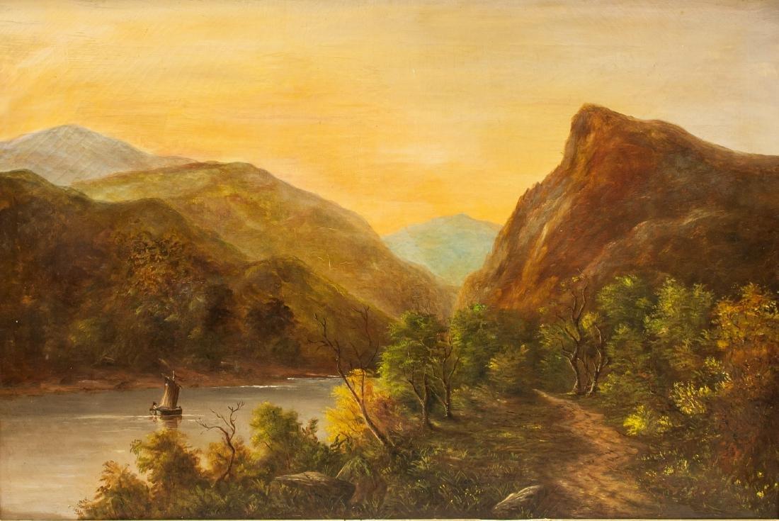 Oil on Canvas XX Mountain Landscape Scene Framed
