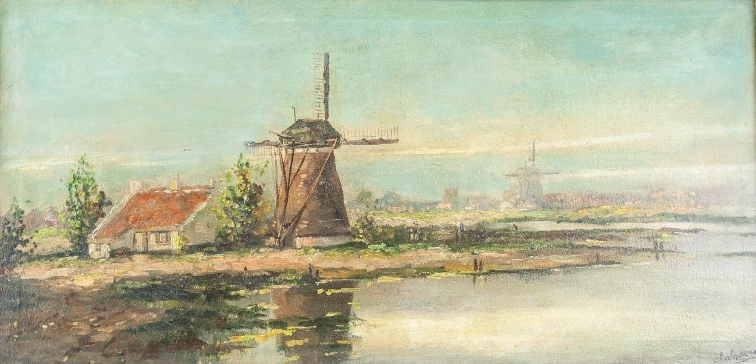 River Landscape Scene Oil on Canvas Framed Signed