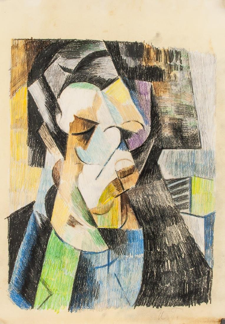 Cubist Portrait Pastel on Paper Signed