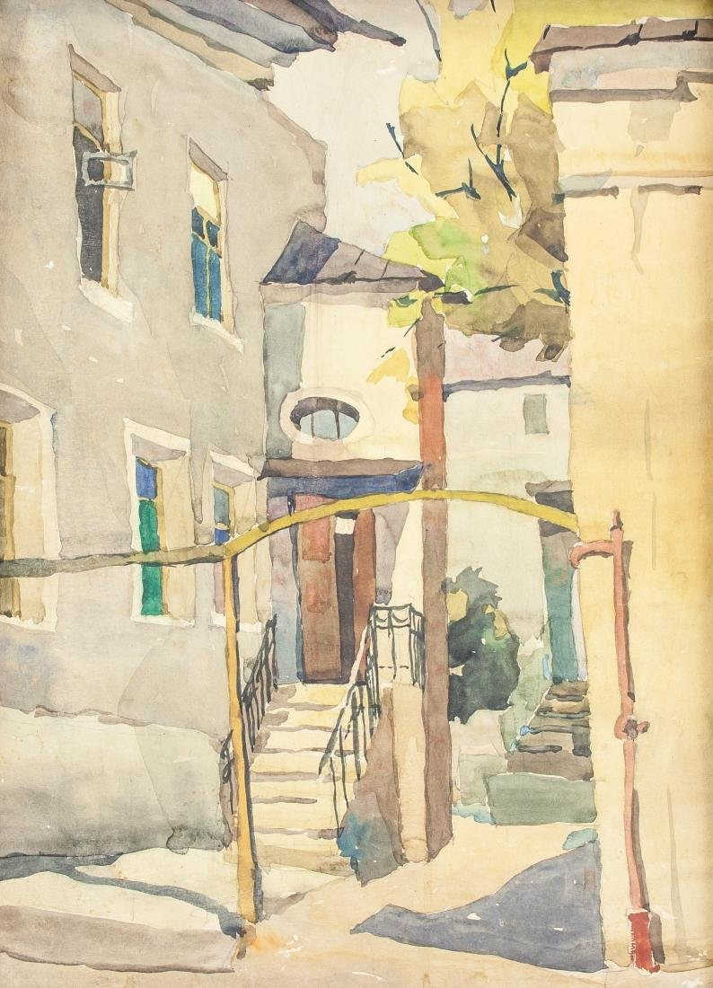 Watercolor on Paper Town Scene Unknown Artist