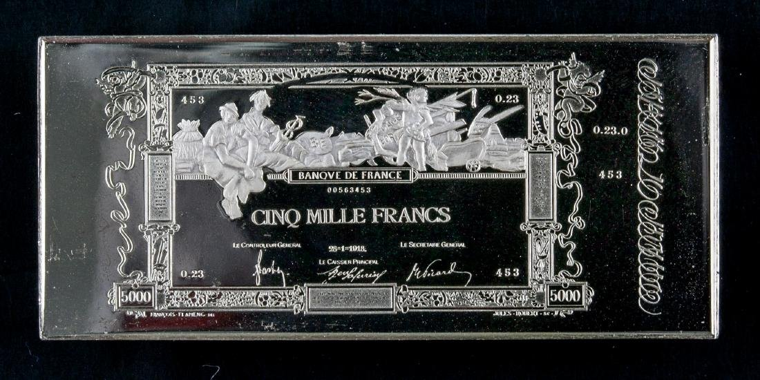 Commemorative Silver Art Bar Banque de France Cinz