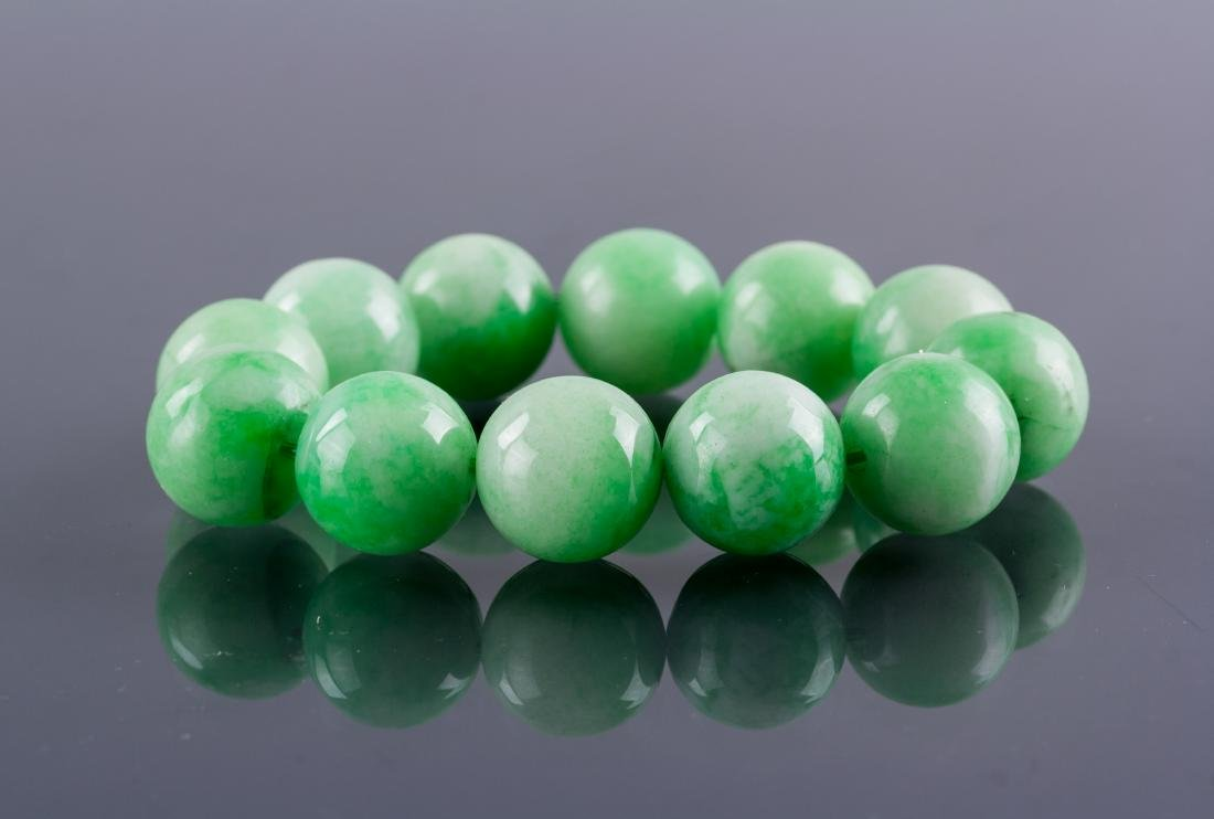 Chinese Green Hardstone Carved Bracelet