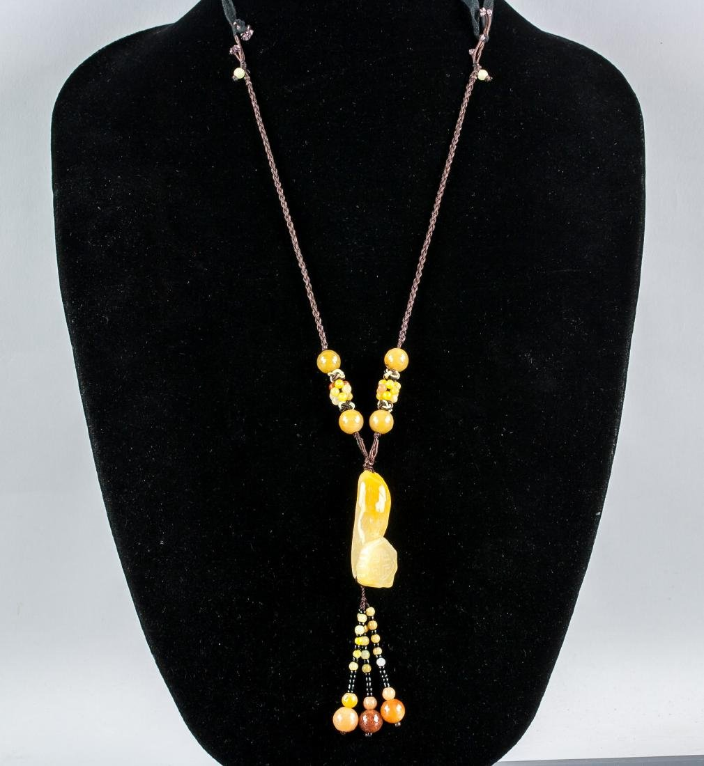 Chinese Yellow Hardstone Ruyi Scepter Necklace