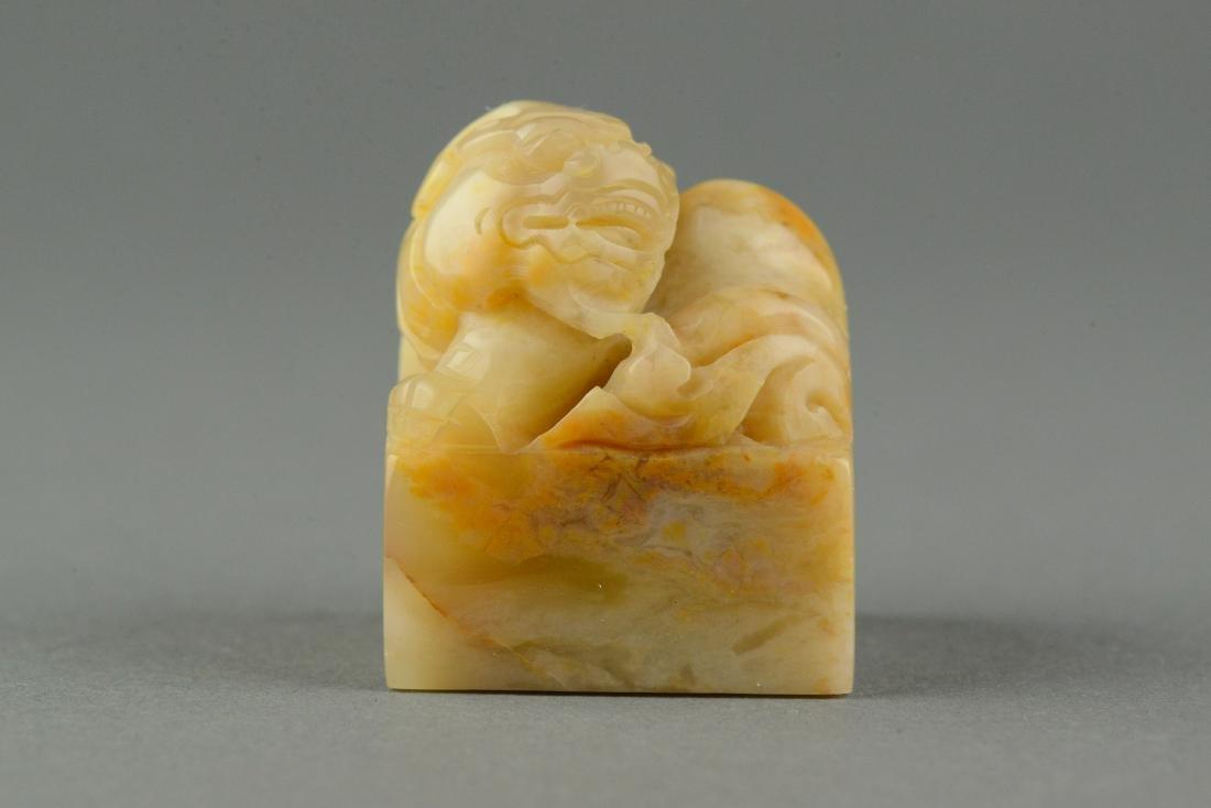 Chinese Shoushan Stone Seal Surmounted Lion