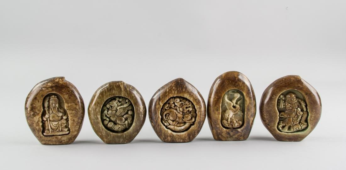 5 Assorted Chinese Hardstone Carved Boulder