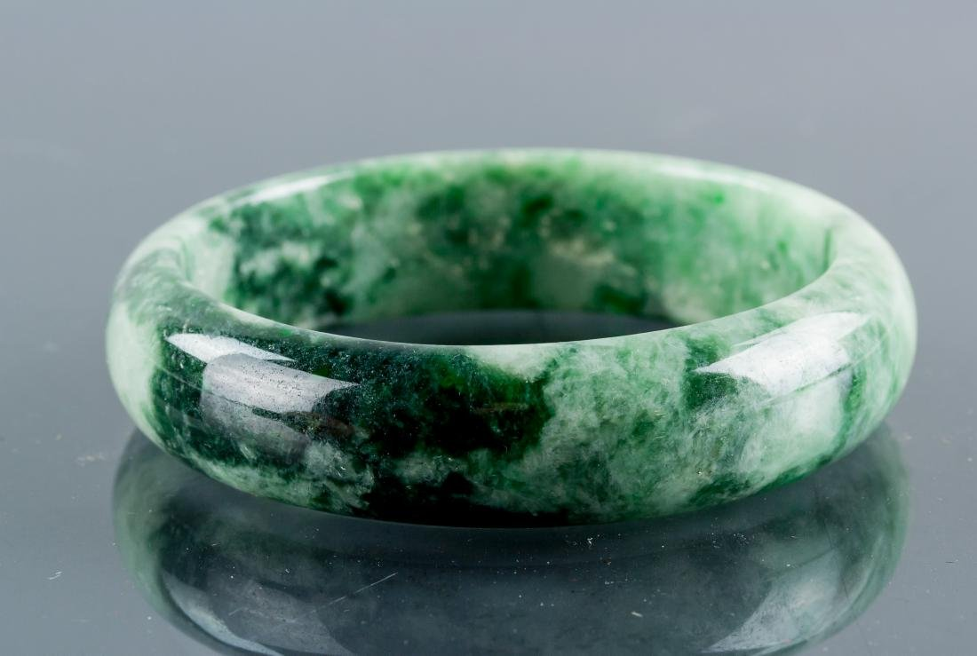 Burma Green Spinach Green Jadeite Carved Bangle