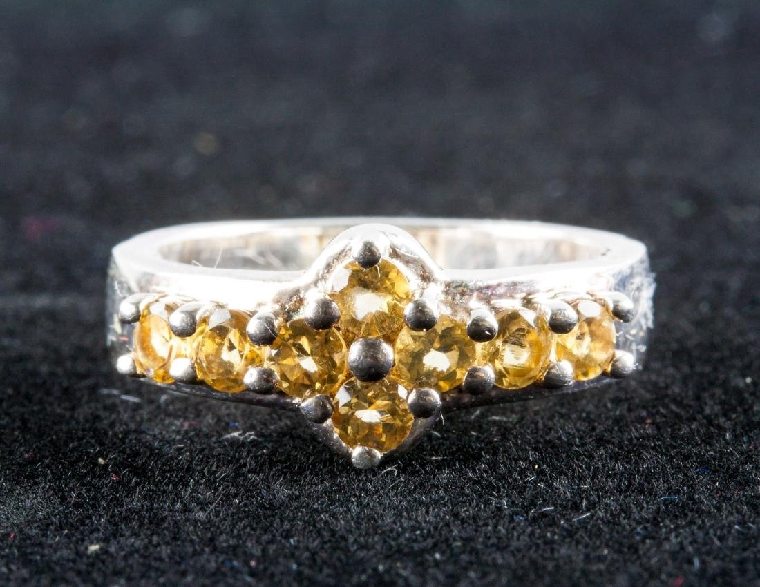 Sterling Silver Citrine Floral Ring RV $500