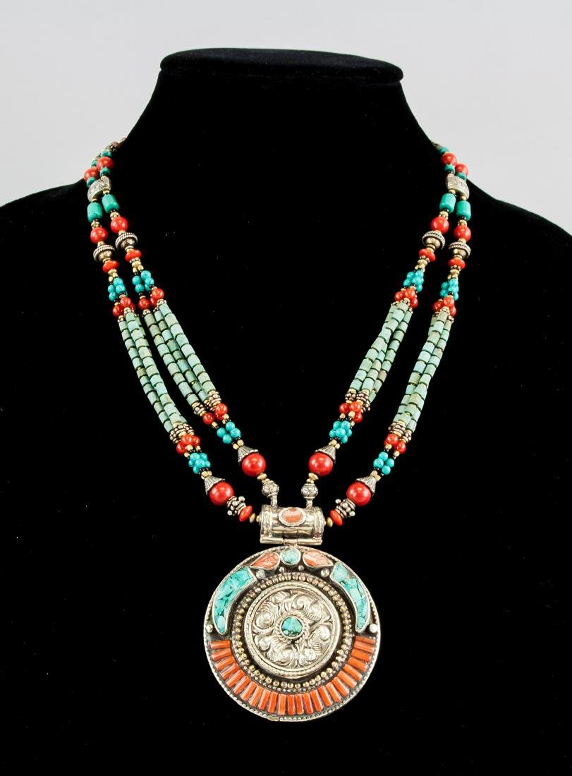 Tibetan Turquoise and Coral Neckace with Pendant