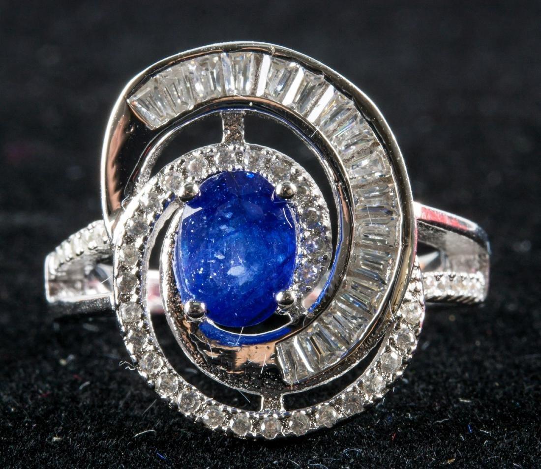 Silver Sapphire Ring RV $240