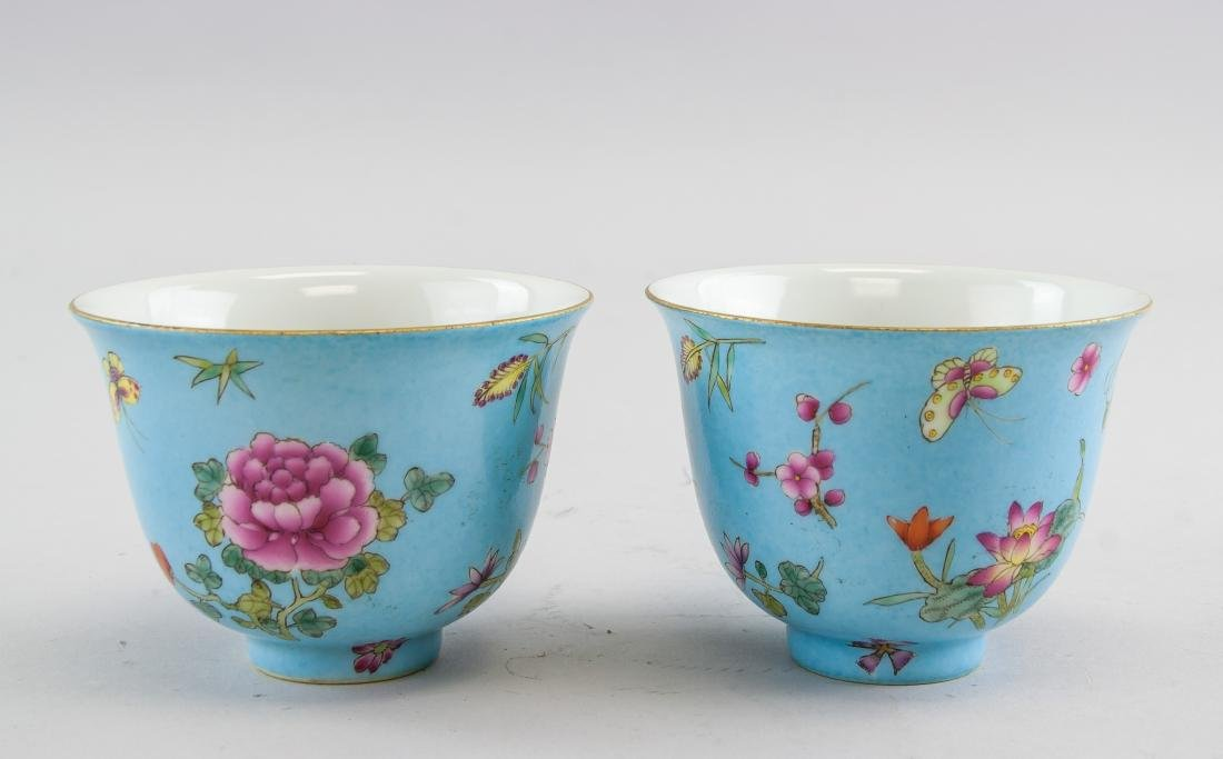 Pair Chinese Famille Rose Porcelain Cup Qianlong