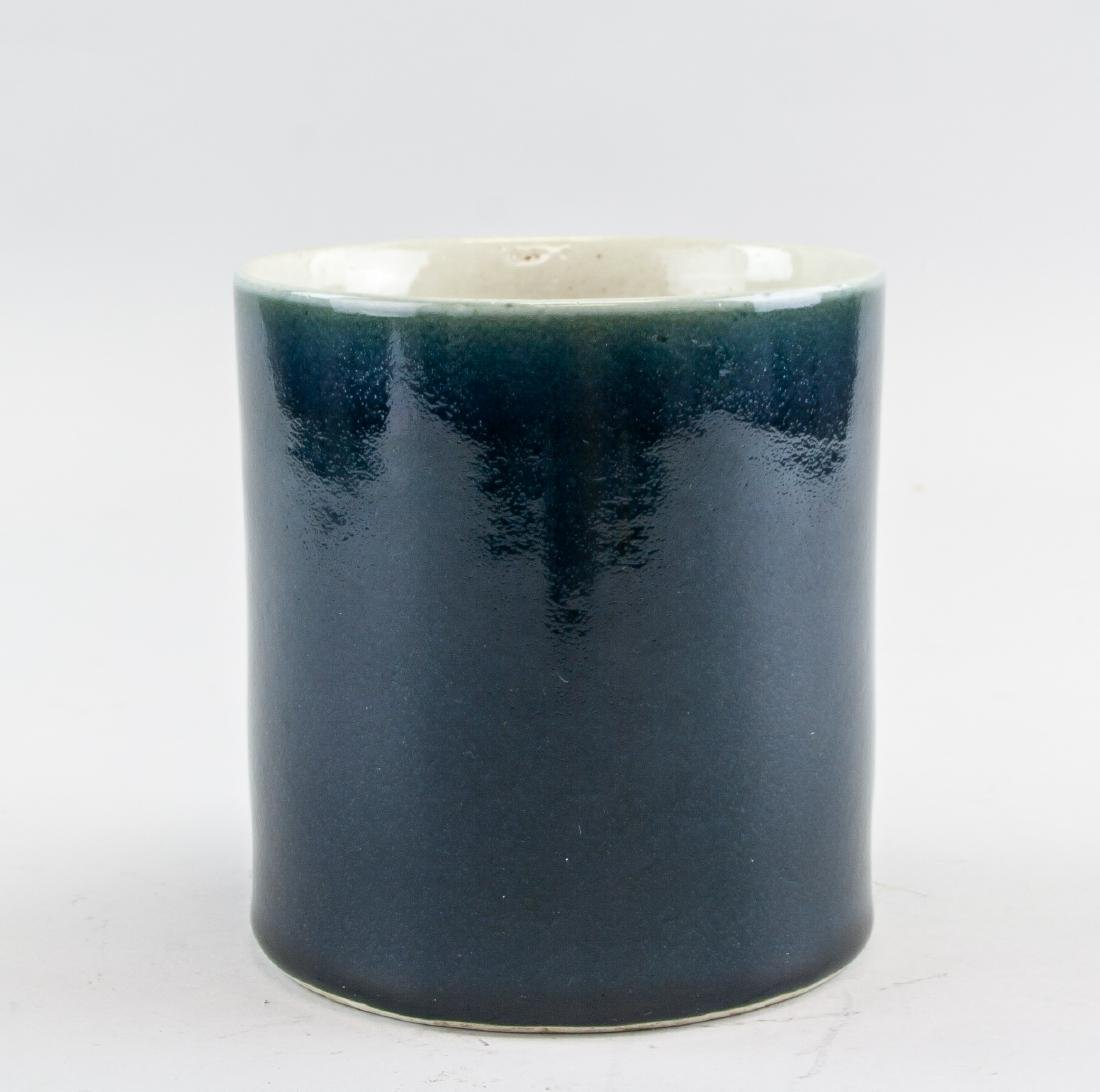Chinese Qing Period Blue Glaze Porcelain Brush Pot