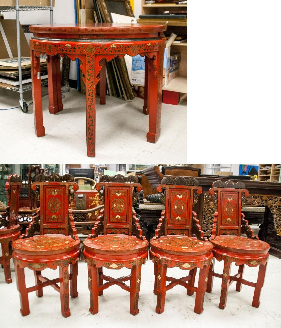 19/20th Century Chinese Red Lacquer Furniture Set