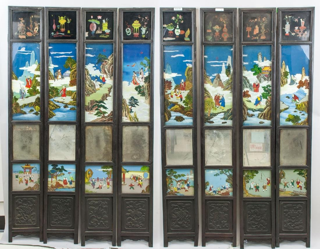 8 Panel Chinese Wood Screen Painted Figures