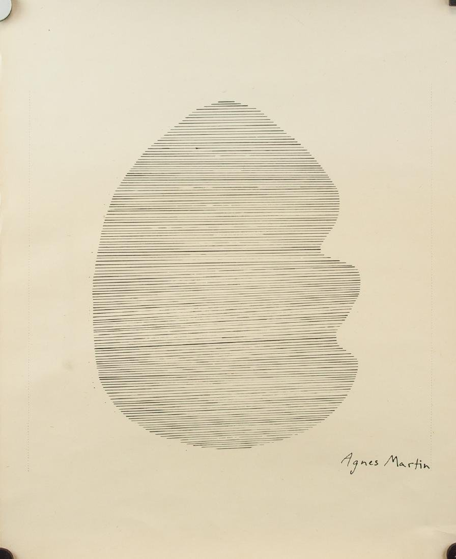 Agnes Martin American 1912-2004 Ink Parallel Lines