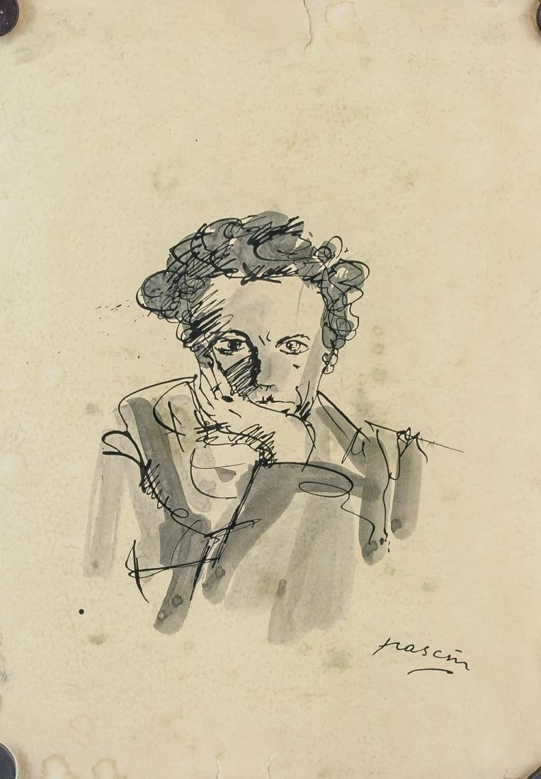 Jules Pascin Bulgarian 1885-1930 Ink on Paper Portrait