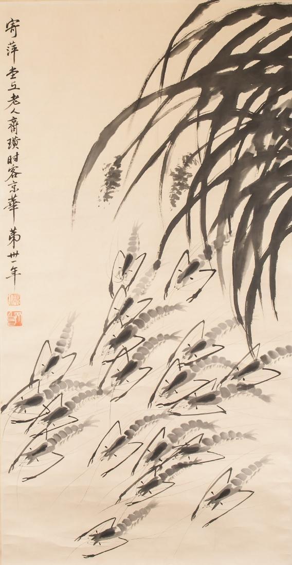 QI BAISHI Chinese 1864-1957 Watercolour Shrimps