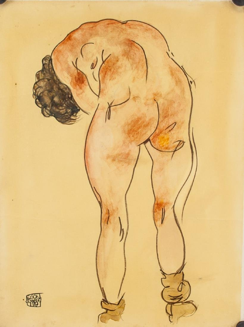 EGON SCHIELE Austrian1890-1918 Watercolor on Paper