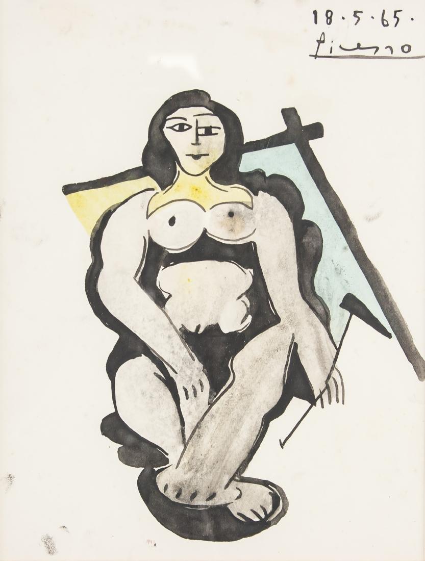 PABLO PICASSO Spanish 1881-1973 Watercolor Nude