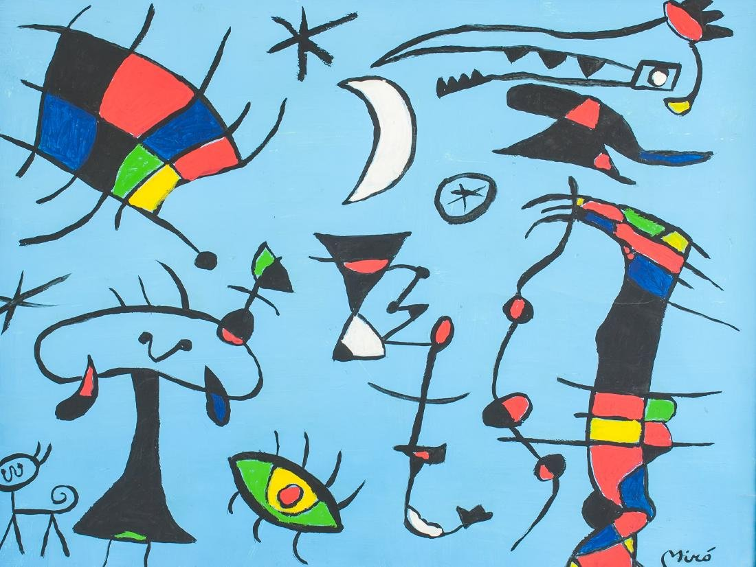 JOAN MIRO Spanish 1893-1983 Oil on Canvas