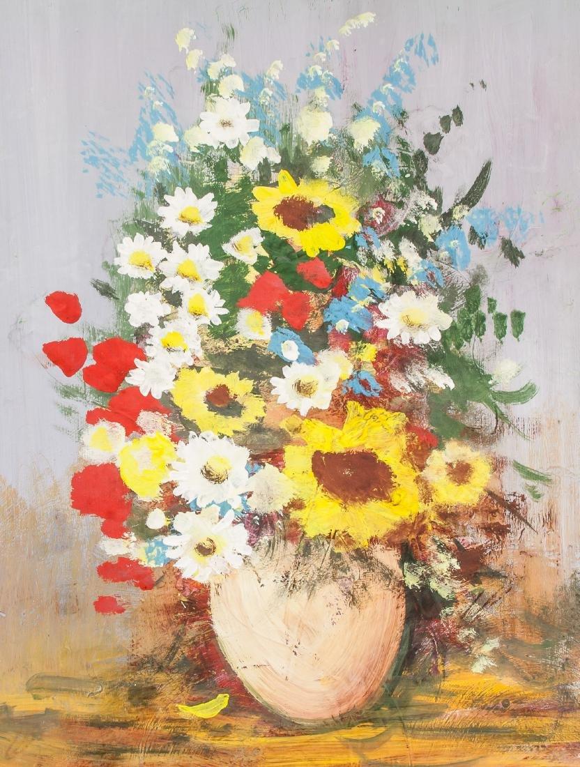 Oil on Board Flowers Still Life Signed