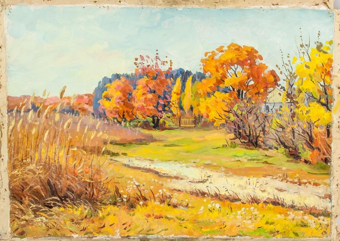 Oil on Paper Landscape Scene Signed by Artist