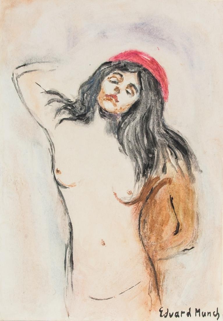 EDVARD MUNCH Norwegian 1863-1944 Mixed Media Nude
