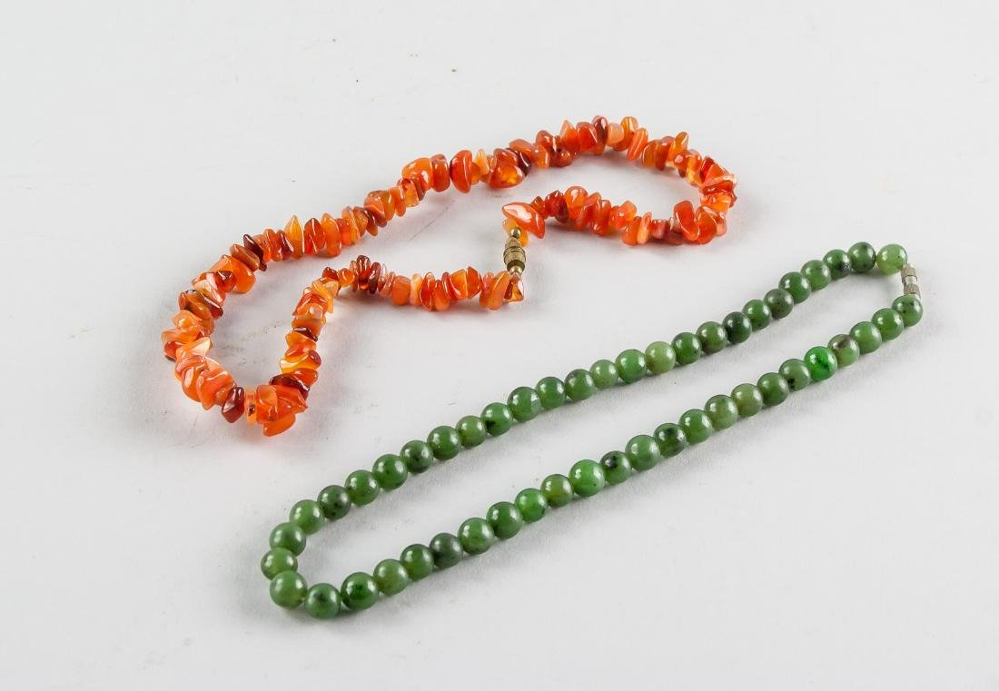 2 Assorted Chinese Jade and Amber Necklace