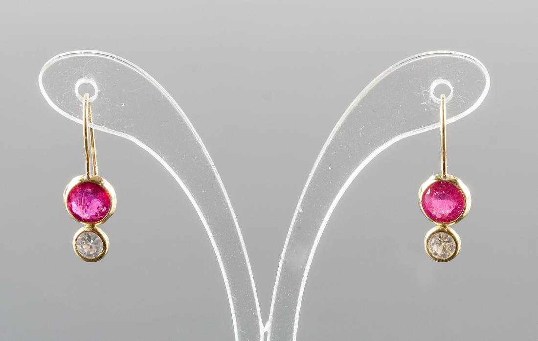 2.0ct Ruby & Yellow Gold Drop Earrings CRV $700