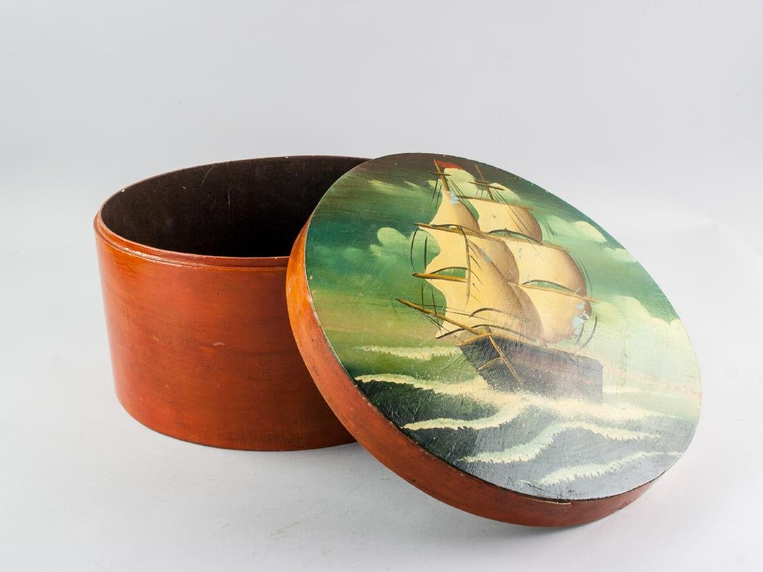 Vintage European Wood Hat Box Painted with Ship