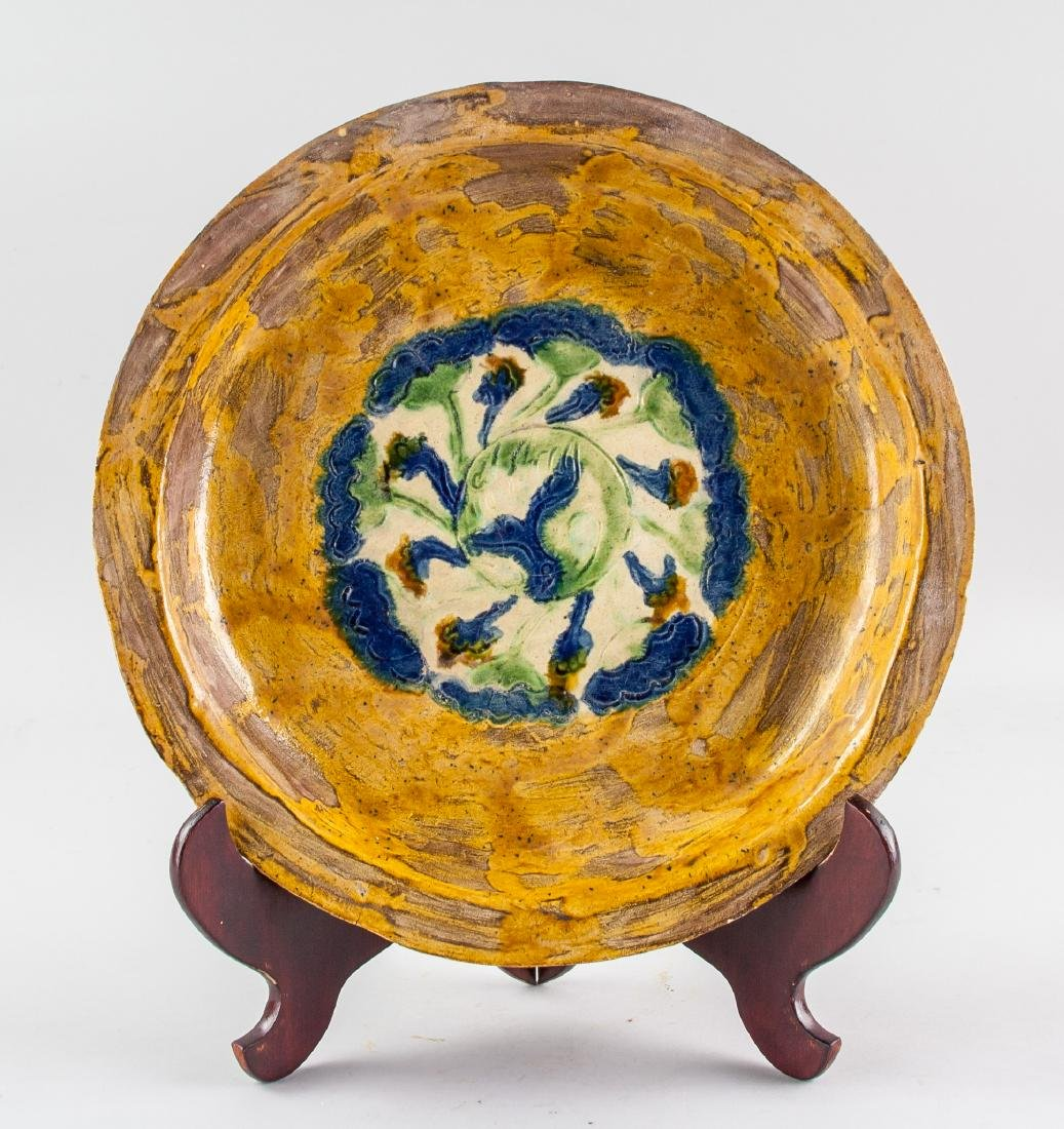 Chinese Republic Era Sancai Pottery Flower Plate