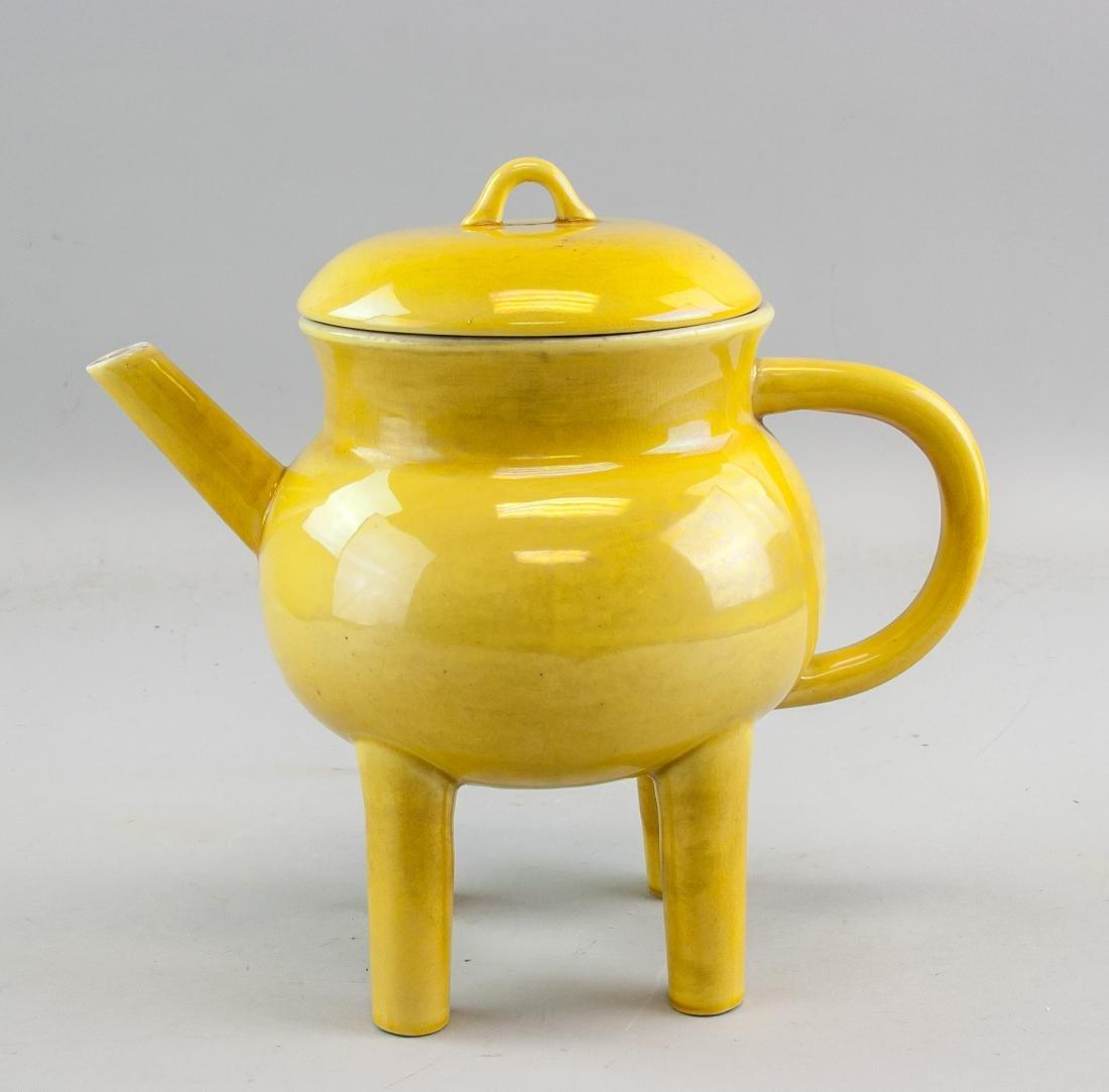 Chinese Yellow Glaze Porcelain Four-Leg Censer