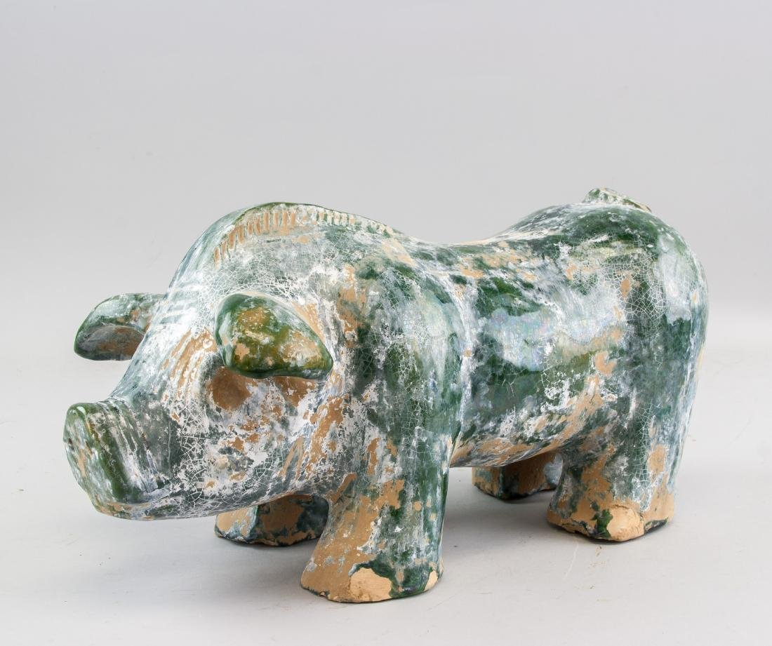 Chinese Green Pottery Pig Statue