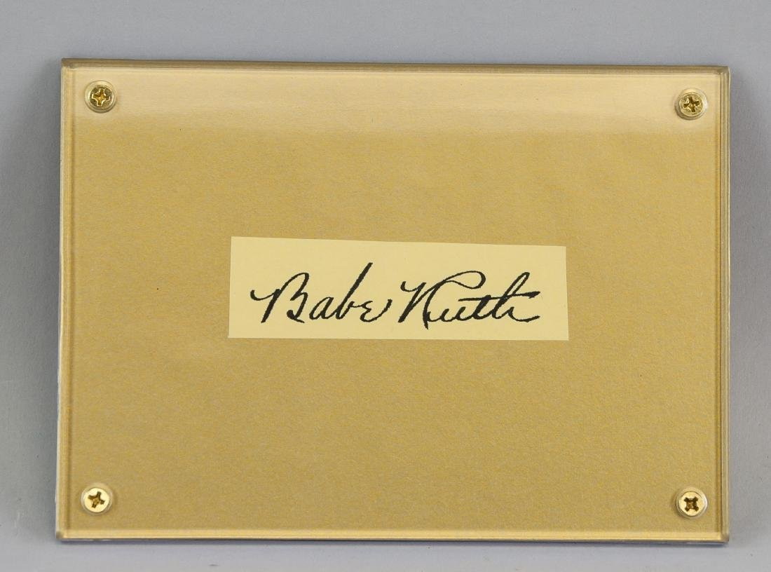 Babe Ruth Signature With Certificate of Authenticy