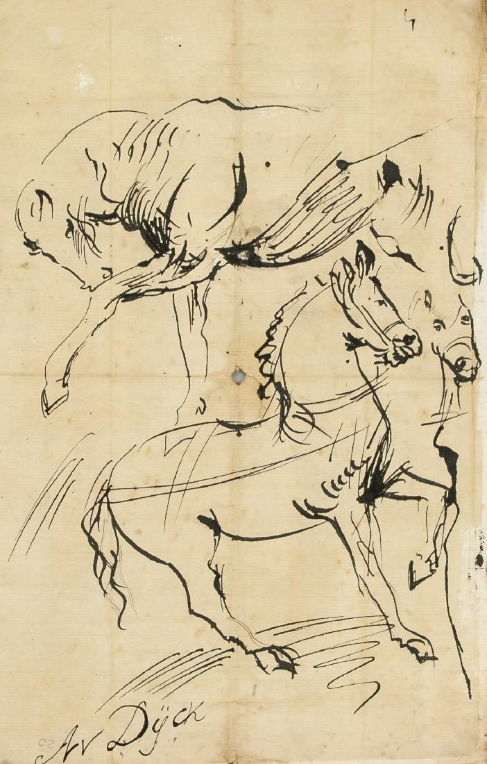 ANTOON VAN DYCK Belgian 1599-1641 Ink Study Horses
