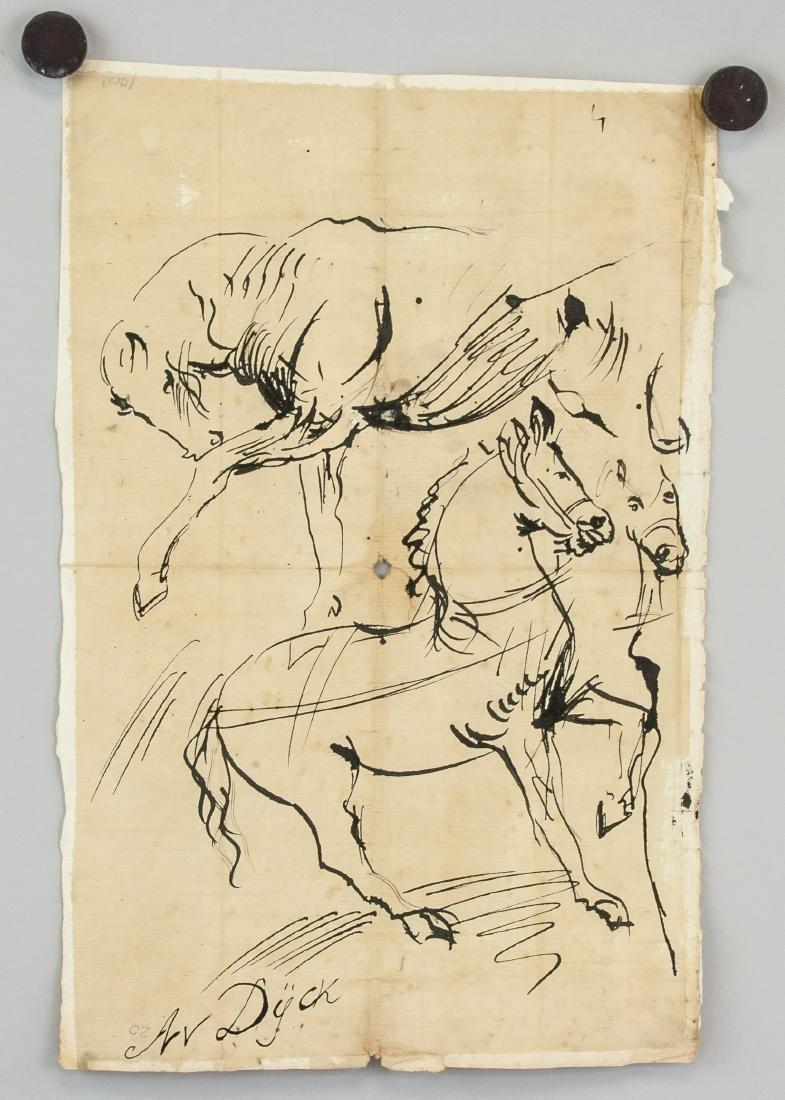 ANTOON VAN DYCK Belgian 1599-1641 Ink Study Horses - 2