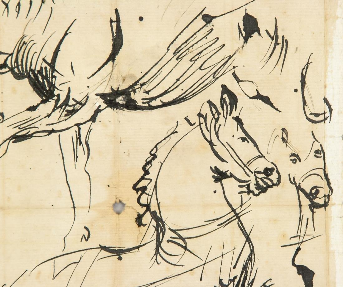 ANTOON VAN DYCK Belgian 1599-1641 Ink Study Horses - 3
