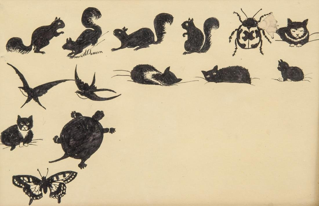 Canadian 20th Century Ink and Pen Study of Animals