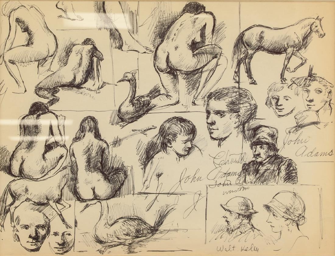 WALT KELLY American 1913-1973 Pen & Ink Nude
