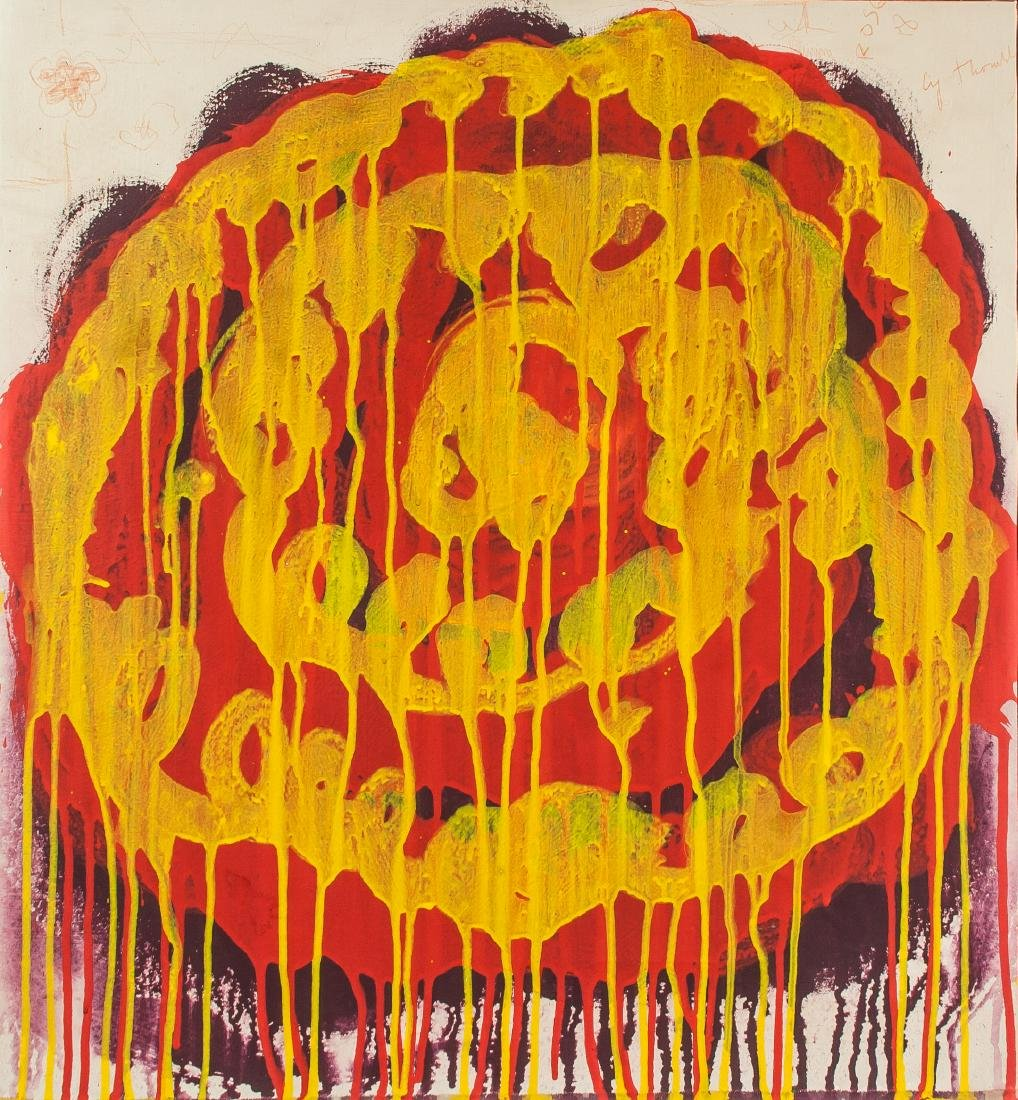 CY TWOMBLY American 1928-2011 Acrylic on Canvas